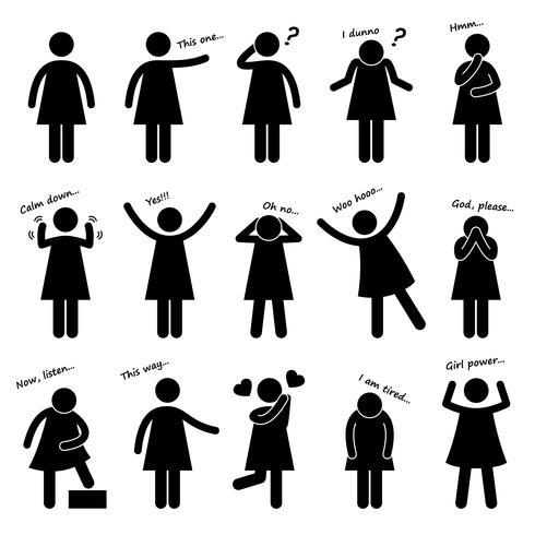 Kvinna Tjej Kvinna Person Grundläggande Kroppsprog Ställning Stift Figur Pictogram Ikon. vektor
