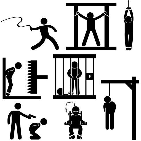 Strafe Folter Gerechtigkeit Todesurteil Hinrichtung Symbol Symbol Zeichen Piktogramm