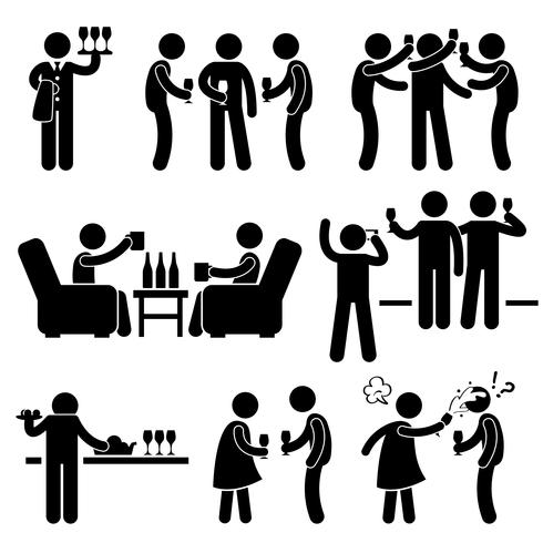 Cóctel amigo hombre reuniéndose disfrutando de la cerveza de vino Stick figura pictograma icono.