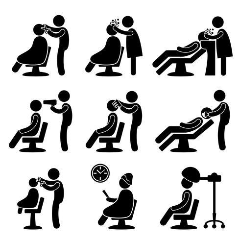 Pictograma de signo de símbolo de peluquería peluquería icono símbolo.
