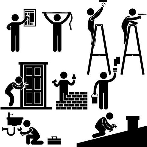 Heimwerker-Elektriker-Bauschlosser-Auftragnehmer, der Reparatur-Haus-Dach-Symbol-Symbol-Zeichen-Piktogramm repariert.