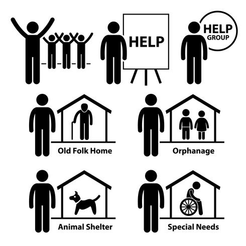 Fundação de responsabilidades de serviço social sem fins lucrativos Volunteer Stick Figure pictograma ícone.