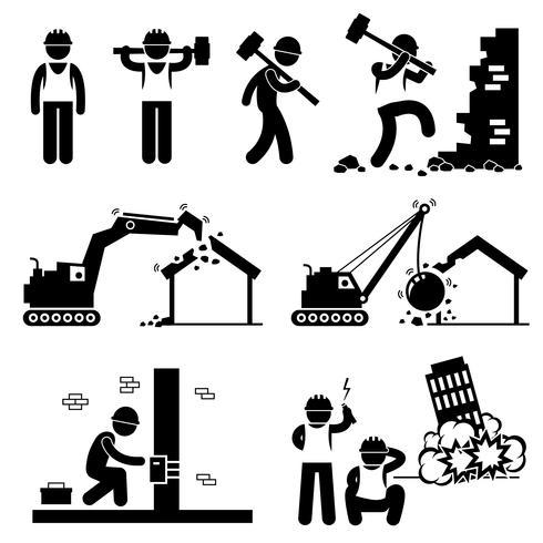 Trabajador de demolición Demoler Figura de palillo de construcción Icono pictograma Cliparts. vector