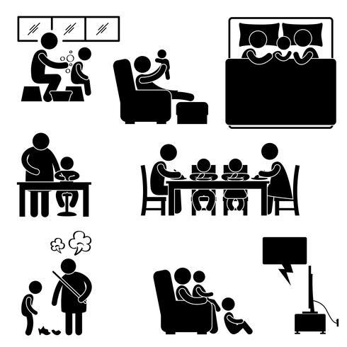 Actividad familiar Casa Casa Bañarse Dormir Enseñar Comer Mirar juntos Icono Símbolo Pictograma de signo.