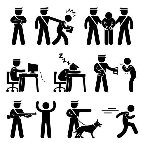 Bewaker Politieman Dief Pictogram Symbool Teken Pictogram.