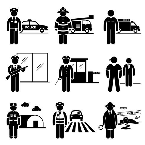 Public Safety and Security Jobs Occupations Careers. vector