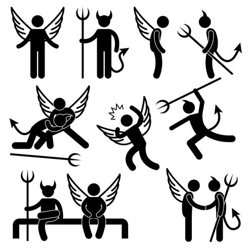 Devil Angel Friend Enemy Icon Symbol Sign Pictogram.