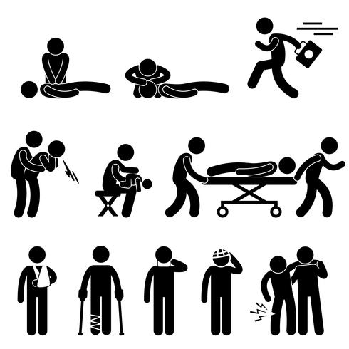 First Aid Rescue Emergency Help CPR Medic Saving Life Icon Symbol Sign Pictogram. vector