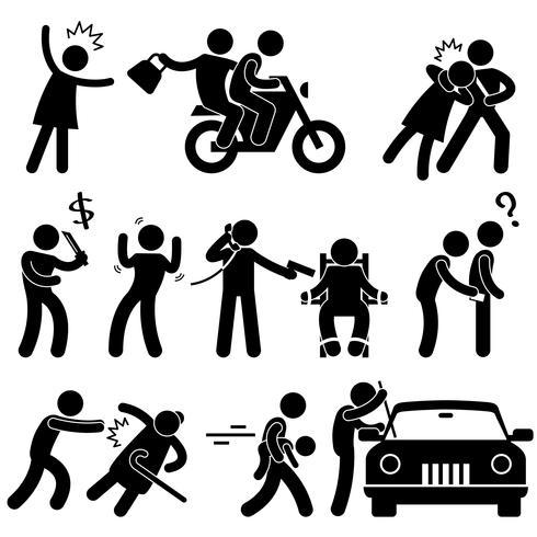 Voleur criminel voleur kidnappeur violeur voleur icône symbole signe pictogramme.