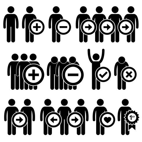 Man Business Human Resource Stick Figure Pictogram Icon.  vector