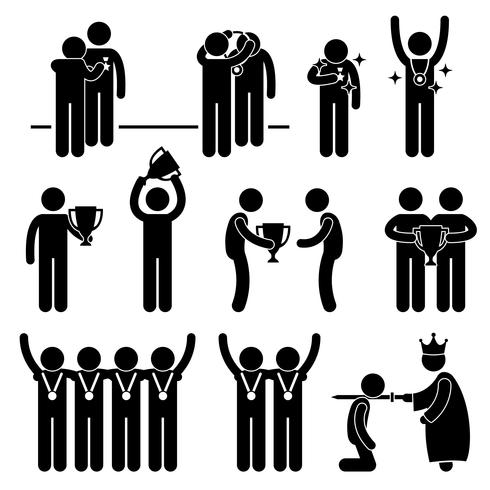 Man Receiving Award Trophy Medal Reward Prize Knighted Honour Honor Ceremony Event Stick Figure Pictogram Icon. vector