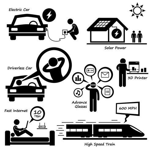 Tecnología avanzada del futuro Stick Figure pictograma icono Cliparts. vector