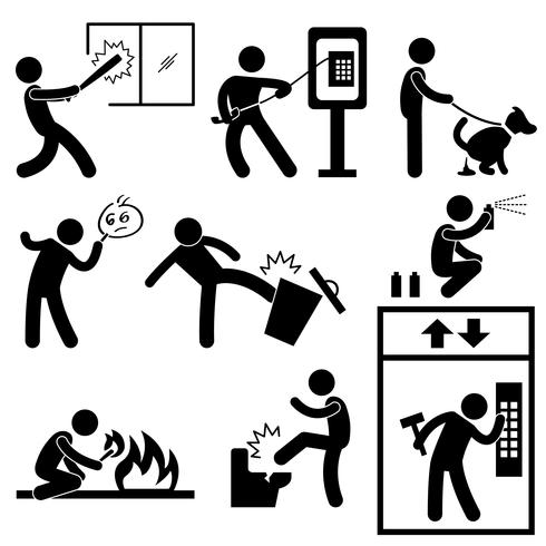 Bad Morale Vandalism Gangster Icon Symbol Sign Pictogram.
