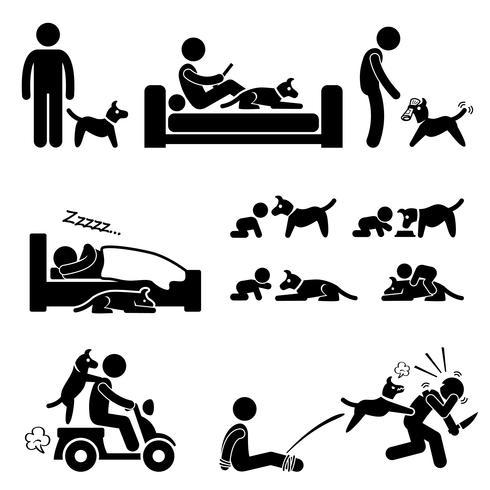 Man en hond relatie huisdier stok figuur Pictogram pictogram.