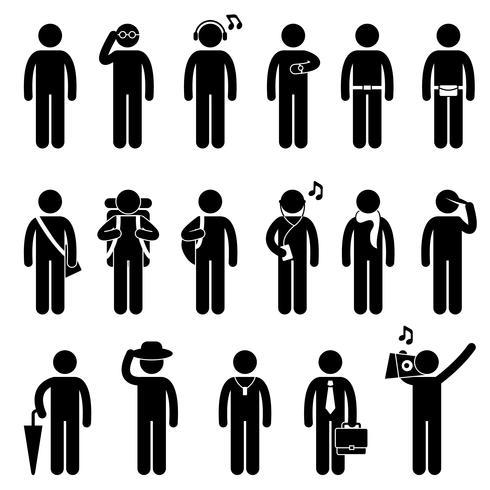 Mann-männliches Mode-Abnutzungs-Körper-Zubehör-Ikonen-Symbol-Zeichen-Piktogramm.