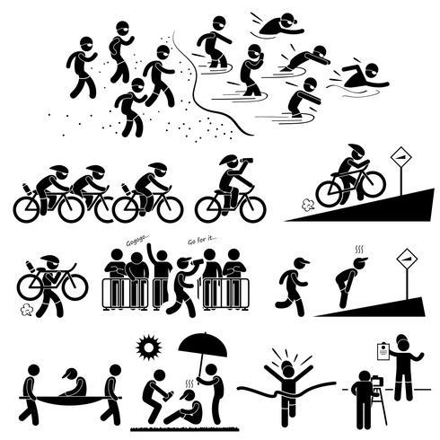Maratón de triatlón Natación Ciclismo Deportes Running Stick Figure Pictogram Icon Symbol. vector