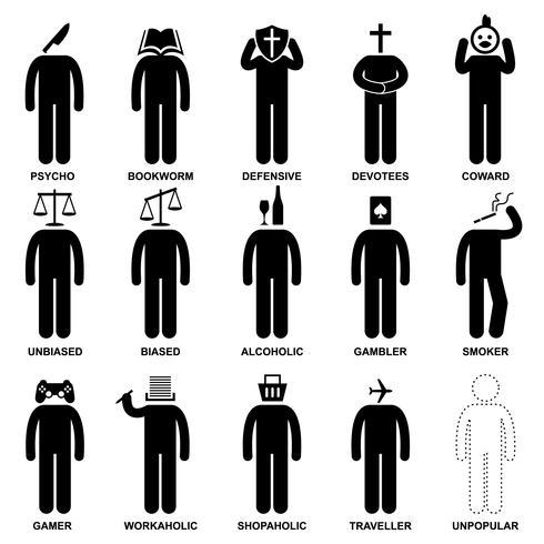 Comportement caractéristique de l'homme Esprit Attitude Identité Stick Figure Icône Pictogramme. vecteur