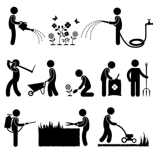 Símbolo de jardinagem do ícone do pictograma da grama da flor da planta de trabalho. vetor