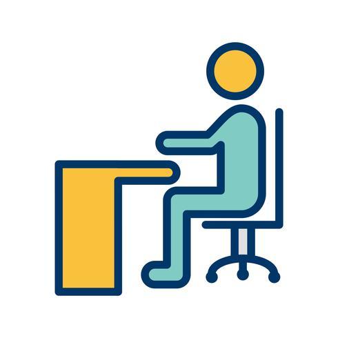 Vektor, der auf Schreibtisch-Ikone sitzt