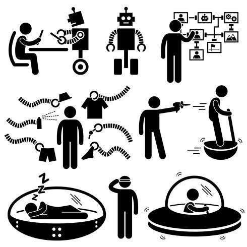 Pessoas da futura robô tecnologia Stick Figure pictograma ícone.