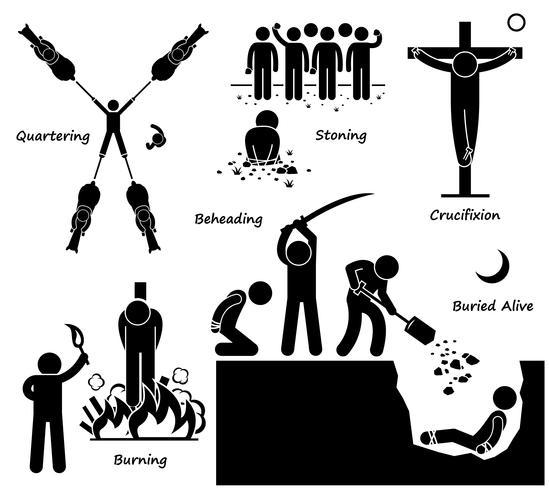Exécution Peine de mort Peine capitale Méthodes anciennes Stick Figure Icônes de pictogramme.