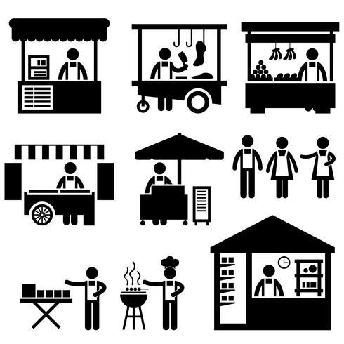 affärsstall butik booth marknaden marknadsplats butik ikon symbol tecken piktogram.