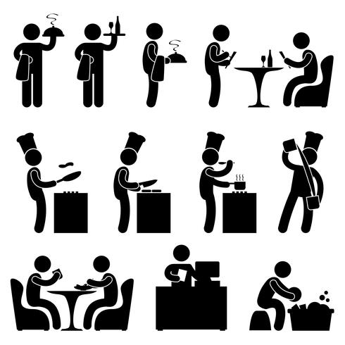 Man Restaurant Waiter Chef Customer Icon Symbol Pictogram.