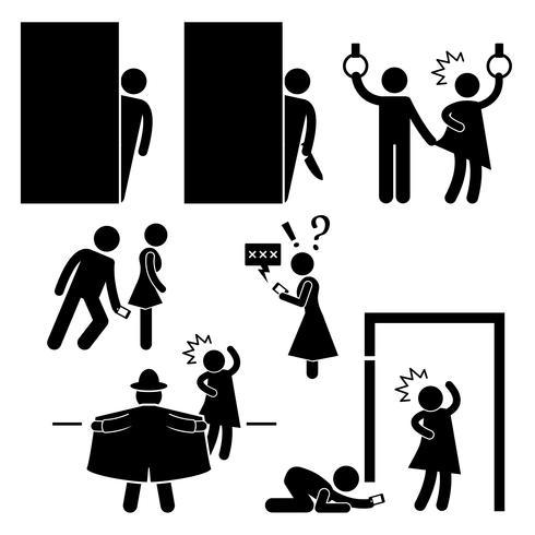 Icône de pictogramme de bonhomme allumeur clignotant pervert physicien molester.