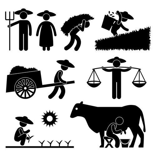 Landwirt Worker Farming Countryside Dorf-Landwirtschafts-Ikonen-Symbol-Zeichen-Piktogramm. vektor