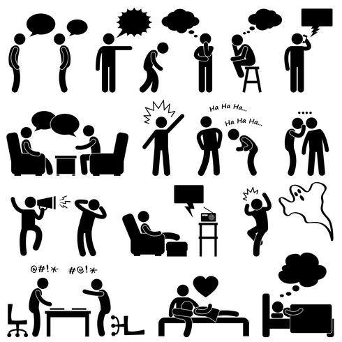 Man Tala Tänkande Konversation Tänkt Skratta Skämt Whispering Screaming Chatting Ikon Symbol Sign Pictogram.