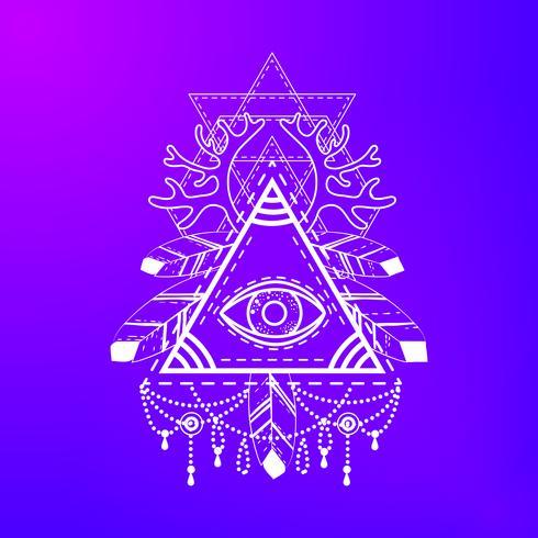 All-seeing eye pyramid symbol. vector
