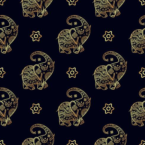 Gold elephant seamless pattern. vector