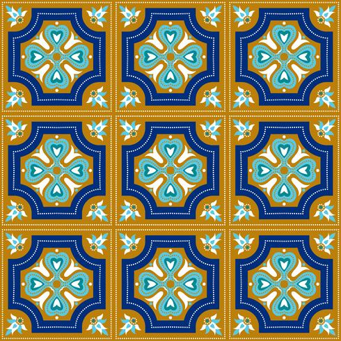 Portuguese azulejo tiles. Blue and white gorgeous seamless patte. vector