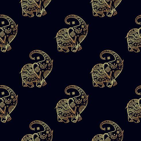 Patrón transparente de oro elefante. vector