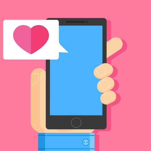 Hand met smartphone met hart bericht