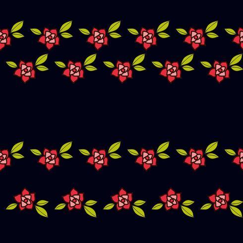 Rose nel tatuaggio vecchio stile. Modello senza cuciture rosa floreale su sfondo nero