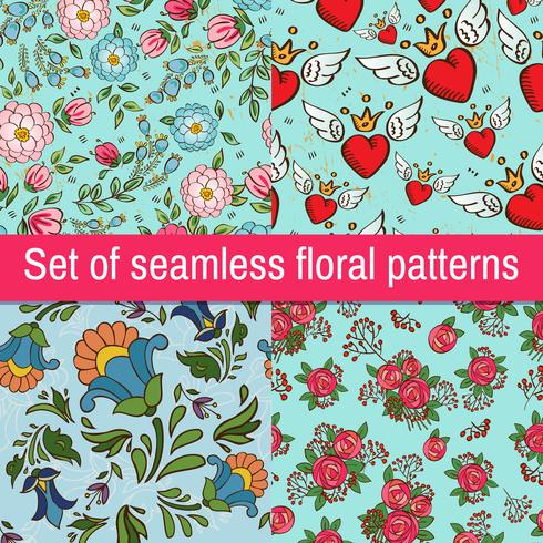Set Vintage fashionable seamless patterns