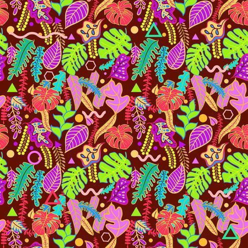 Tropiska levande tropiska löv sömlösa mönster.