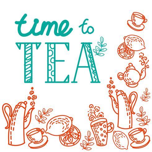 conjunto de iconos con té en estilo plano