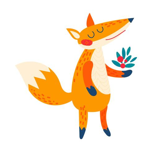 Dessin animé de renard roux. vecteur
