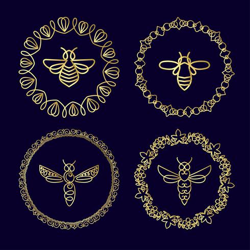 Insignia Insecto Abeja De Identidad Corporativa