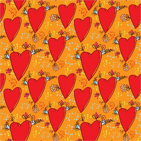 Seamless pattern with hearts and flowers with a doodle-style graphics sketch