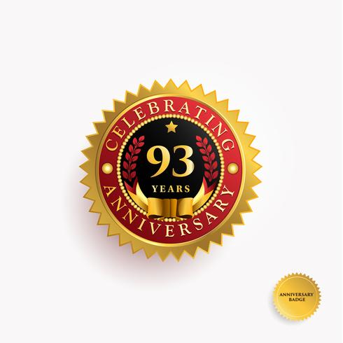 Distintivo de ouro de aniversário de anos vetor