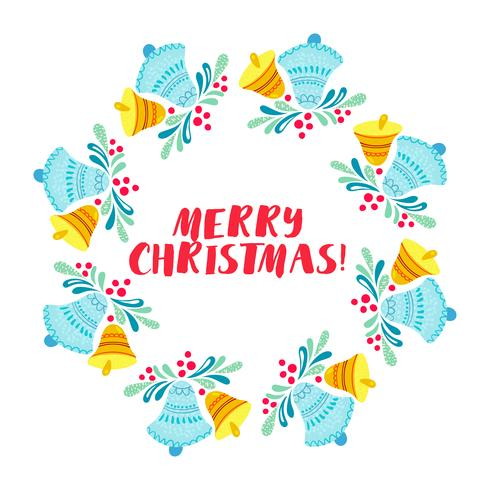 Christmas wreath isolated on white background vector