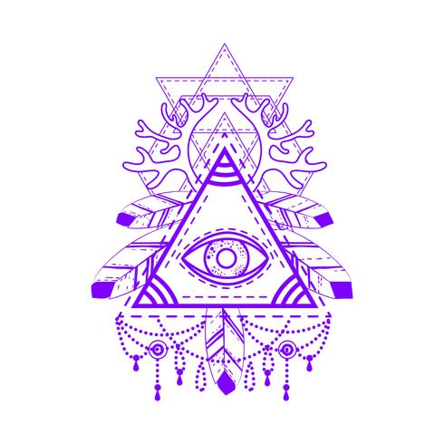 All-seeing eye pyramid-symbool. vector