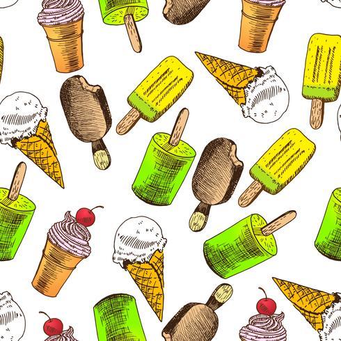 Doodle helado de fondo sin fisuras vector