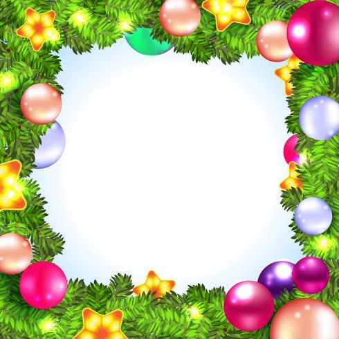 Corona di Natale con palline e albero di Natale, vettore