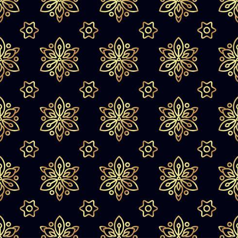 Guld blomma sömlöst mönster.