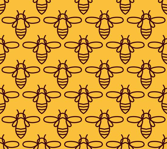 Seamless pattern with orange bees in Monoline style. vector