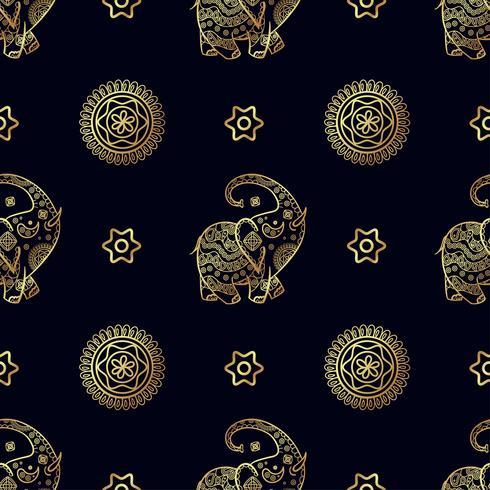 Guld elefant sömlöst mönster. vektor